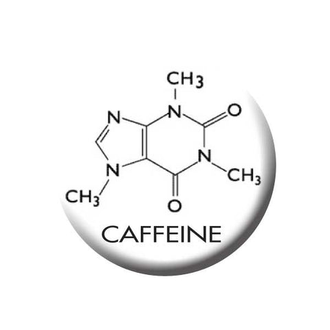 Caffeine, Caffeine Molecule, Black & White, Coffee Buttons Collection from People Power Press