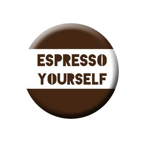 Espresso Yourself, Brown & White, Coffee Bean, Coffee Buttons Collection from People Power Press