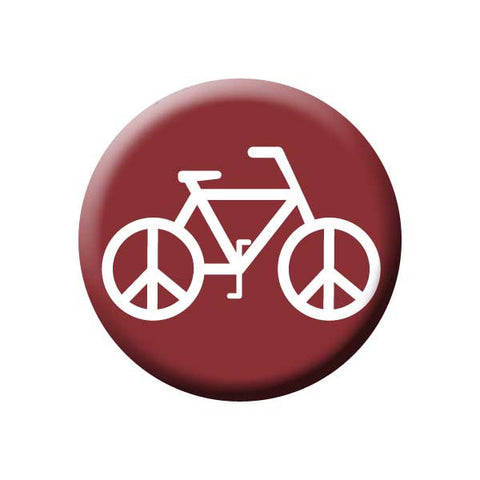 Peace on Wheels, Rust, Bicycle Buttons Collection from People Power Press