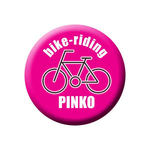 Bike-Riding Pinko, Pink, Bicycle Buttons Collection from People Power Press