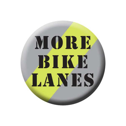 More Bike Lanes, Grey & Green, Bicycle Buttons Collection from People Power Press