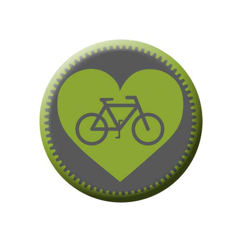 Bicycle Gear Heart, Green, Bicycle Buttons Collection from People Power Press