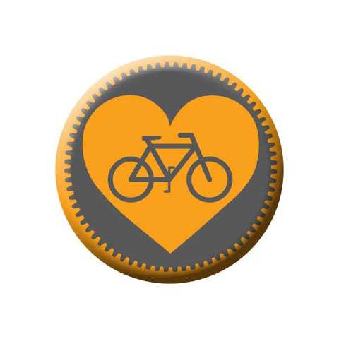 Bicycle Gear Heart, Orange, Bicycle Buttons Collection from People Power Press
