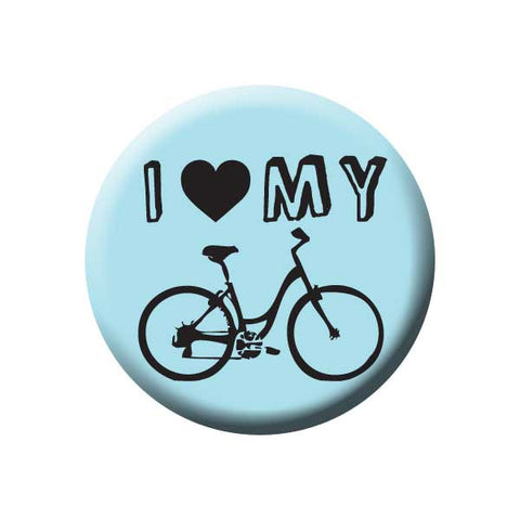I Heart My Bicycle, I Love My Bike, Blue, Bicycle Buttons Collection from People Power Press