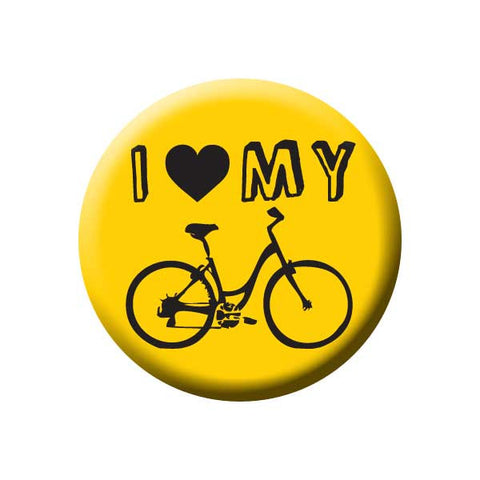 I Heart My Bicycle, I Love My Bike, Yellow, Bicycle Buttons Collection from People Power Press