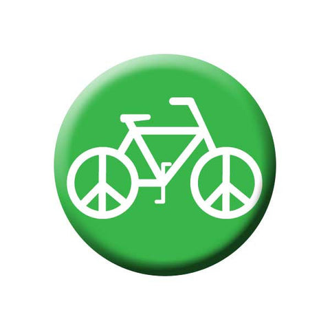 Peace On Wheels, Peace Sign, Bicycle, Green, Bicycle Buttons Collection from People Power Press