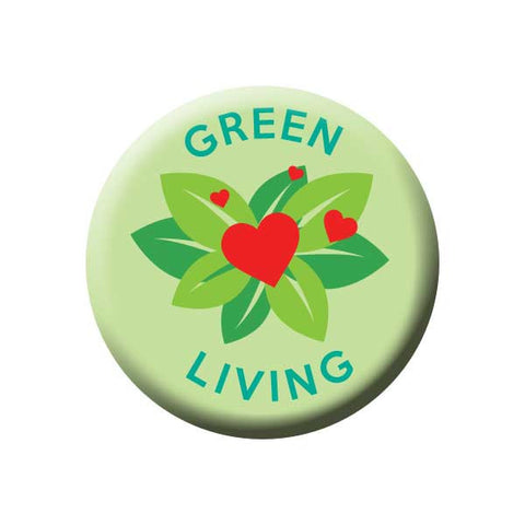 Green Living, Heart, Flower, Earth Environment Buttons Collection from People Power Press