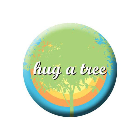 Hug A Tree, Blue & Orange, Tree Hugger, Earth Environment Buttons Collection from People Power Press