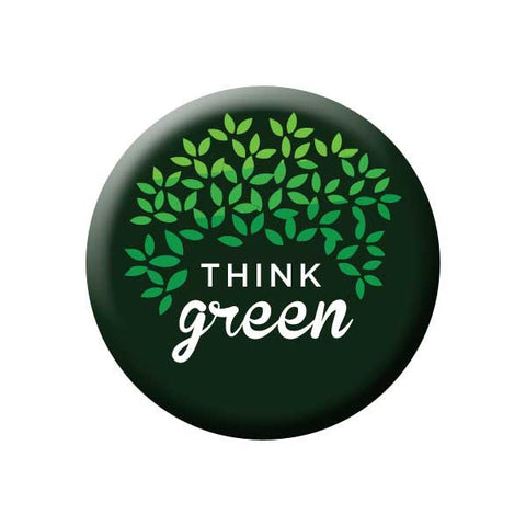 Think Green, Tree, Leaves, Green & Black, Earth Environment Buttons Collection from People Power Press