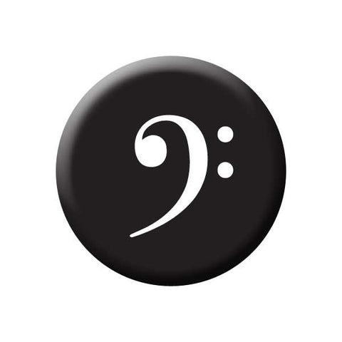 Bass Clef, Black, White, Music Record Store Buttons Collection from People Power Press Bass Clef Button