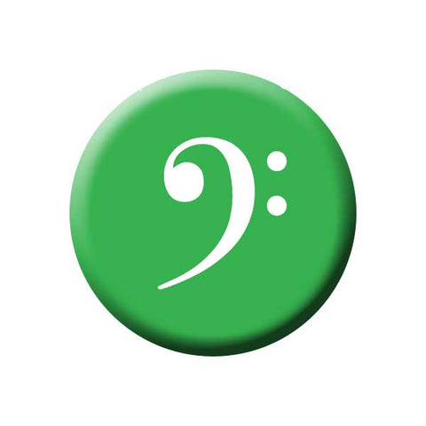 Bass Clef, Green, White, Music Record Store Buttons Collection from People Power Press Bass Clef Button