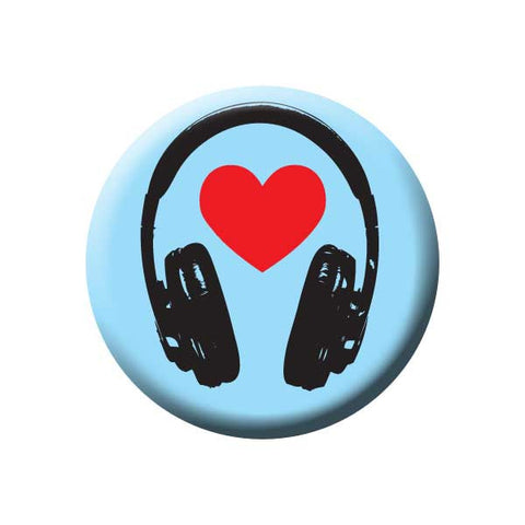 Headphones, Heart, Blue, Music Record Store Buttons Collection from People Power Press