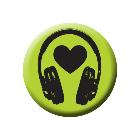 Headphones, Heart, Green, Music Record Store Buttons Collection from People Power Press