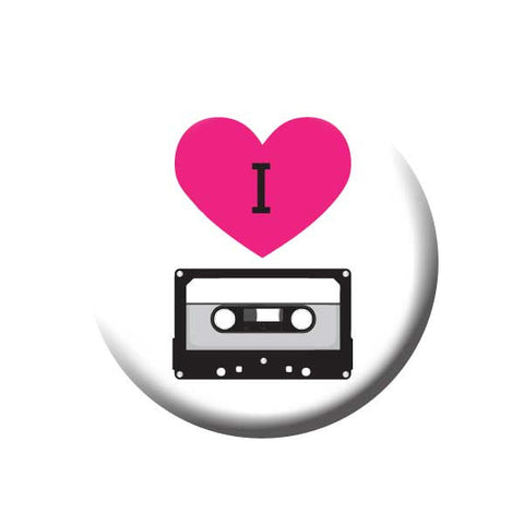 I Love Tapes, I Heart Tapes, Black, White, Pink, Music Record Store Buttons Collection from People Power Press