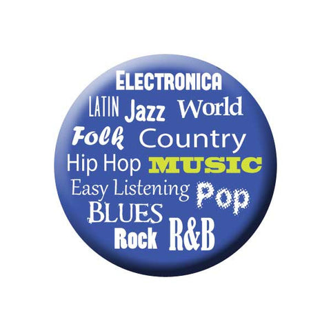 Music Genres, Electronica, Latin, Jazz, World, Hip Hop, Country, Easy Listening, Pop, Blues,  Rock, R&B, Blue, Music Record Store Buttons Collection from People Power Press