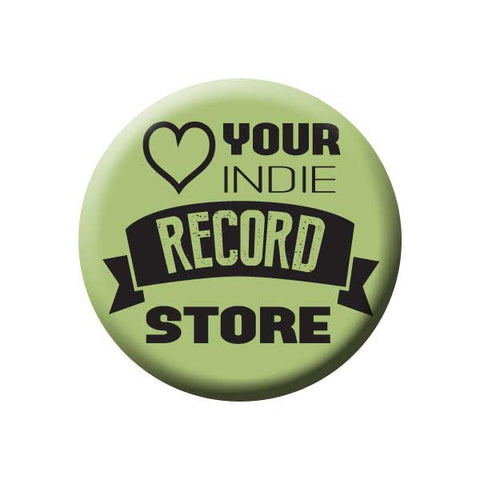 Love Your Indie Record Store, Heart, Green, Music Record Store Buttons Collection from People Power Press