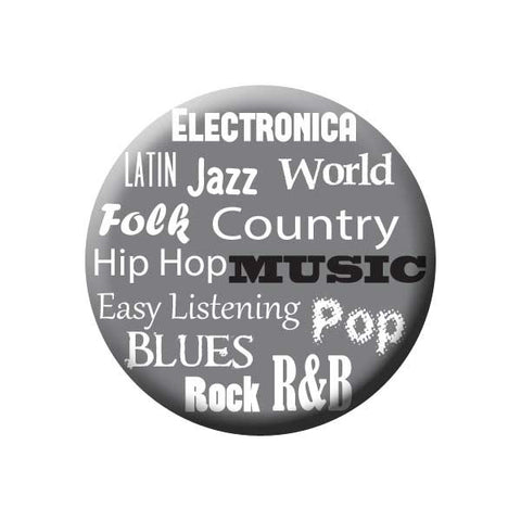 Music Genres, Electronica, Latin, Jazz, World, Hip Hop, Country, Easy Listening, Pop, Blues,  Rock, R&B, Grey, Music Record Store Buttons Collection from People Power Press