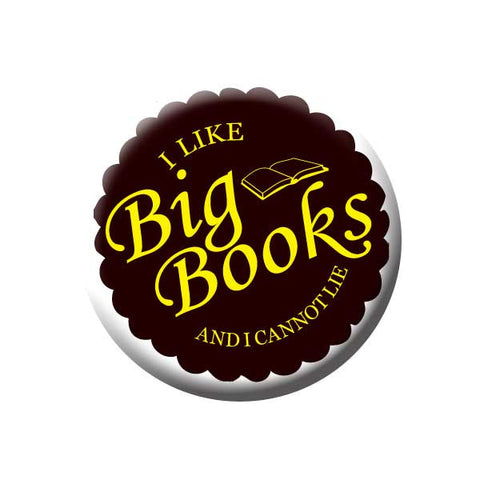 I Like Big Books And I Can Not Lie, Books, Yellow, Black, Reading Book Buttons Collection from People Power Press