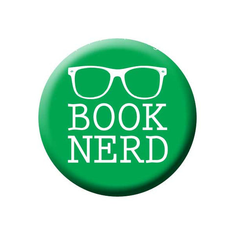 Book Nerd, Reading Glasses, Green, Reading Book Buttons Collection from People Power Press