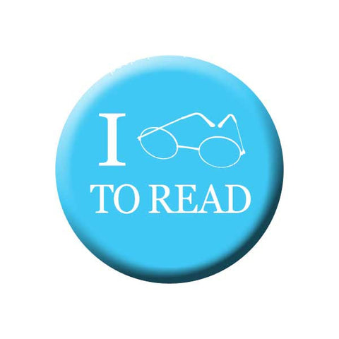 I Love to Read, Glasses, Blue, Reading Book Buttons Collection from People Power Press