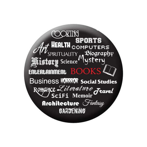 Book Genres, Books, Black, White, Reading Book Buttons Collection from People Power Press