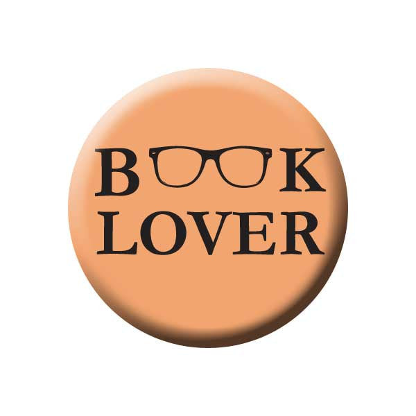 Book Lover, Reading Glasses, Peach, Reading Book Buttons Collection from People Power Press