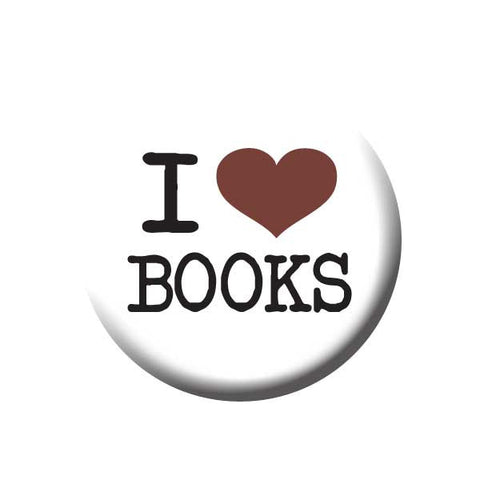 I Love Books, I Heart Books, Black, Red, White, Reading Book Buttons Collection from People Power Press