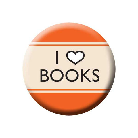 I Heart Books, I Love Books, Orange, Reading Book Buttons Collection from People Power Press
