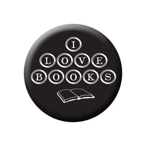 I Love Books, Typewriter Keys, Black, Reading Book Buttons Collection from People Power Press