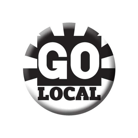 Go Local, Black & White, Shop Local Buttons Collection from People Power Press