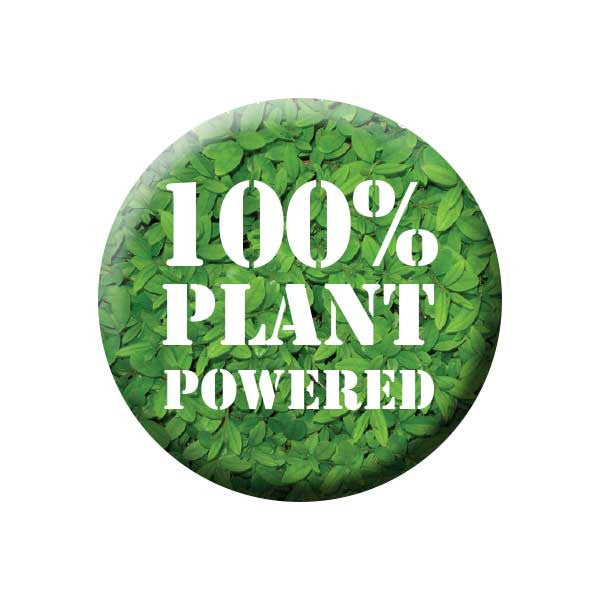 100% Plant Powered, Plants, Vegan, Green, People Power Press Vegetarian and Vegan Button Collection Plant Powered