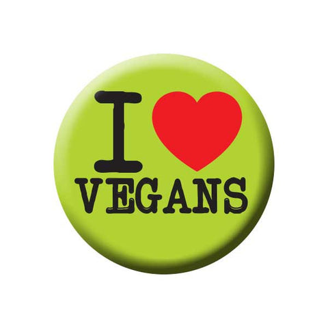 I Love Vegans, I Heart Vegans, Green, People Power Press Vegetarian and Vegan Button
