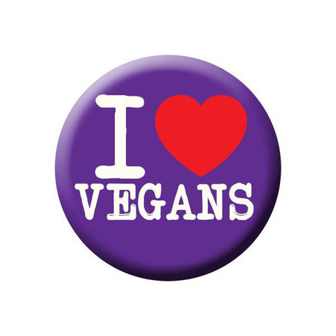 People I Love Vegans, I Heart Vegans, Purple, Power Press Vegetarian and Vegan Button Vegetarian Blue