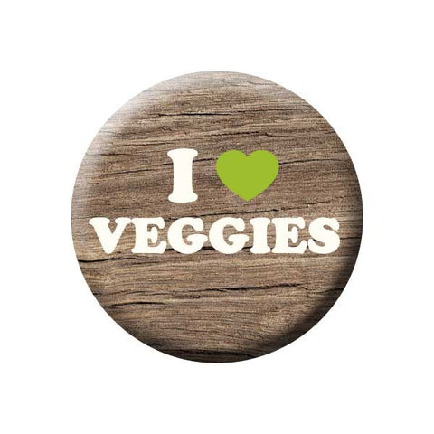 I Heart Veggies, I Love Veggies, Wood Grain, Vegetarian, People Power Press Vegetarian and Vegan Button Collection I (Heart) Veggies
