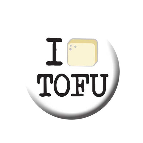 I Love Tofu, Tofu Cube, Vegetarian, People Power Press Vegetarian and Vegan Button Collection I (Tofu) Tofu
