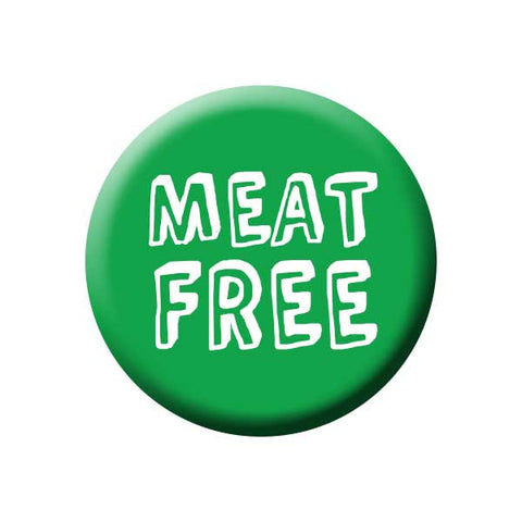 Meat Free, Green, Vegetarian, People Power Press Vegetarian and Vegan Button Collection Meat Free