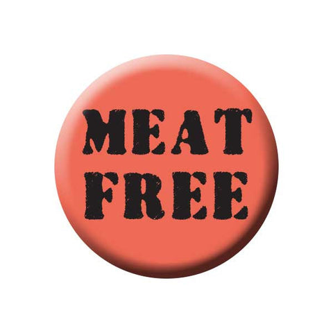 Meat Free, Salmon Pink, People Power Press Vegetarian and Vegan Button Collection Meat Free