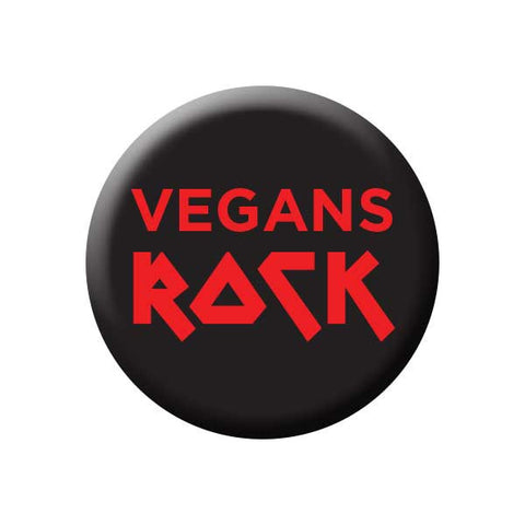 Vegans Rock, Black & Red, People Power Press Vegetarian and Vegan Button Vegans Rock