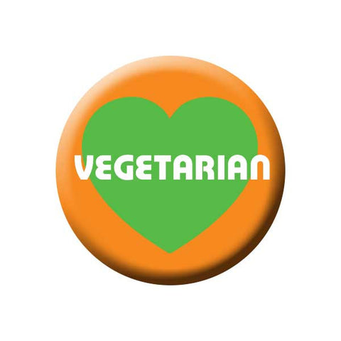 Vegetarian, Heart, Green, Orange, People Power Press Vegetarian and Vegan Button Vegetarian Orange