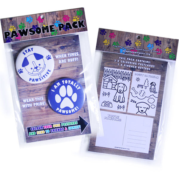 People Power Press Animal Puns Pawsome Dog Button Pack with Colouring Dog Postcards