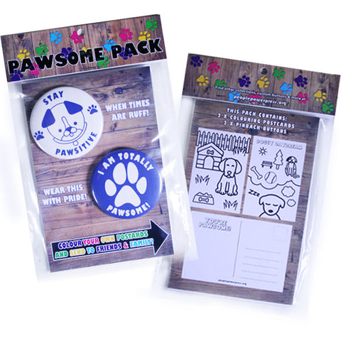Pawsome Pack - Dog Buttons and Colouring Postcards