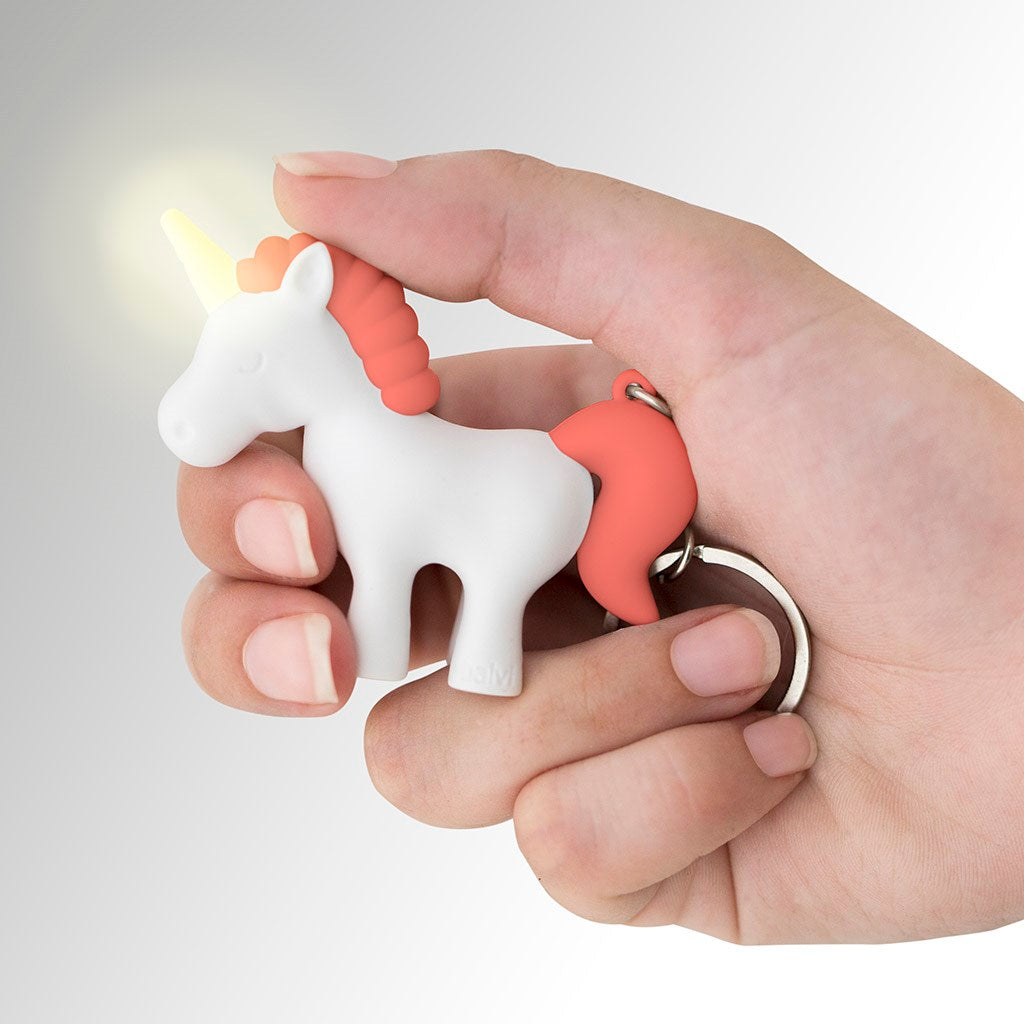 Pink Unicorn Key Ring Safety Sound and LED Light