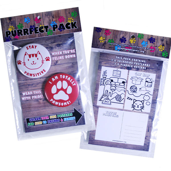 Purrfect Pack - Cat Buttons and Colouring Postcards