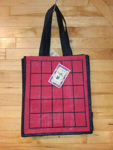 Bold Red with Black-Square Pattern, Jute Fibre Tote Bag