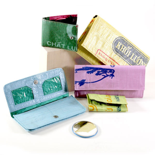 Recycled Rice Bag Wallets Assorted