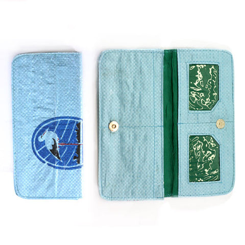 Rounded Edge Long Recycled Rice Bag Wallet
