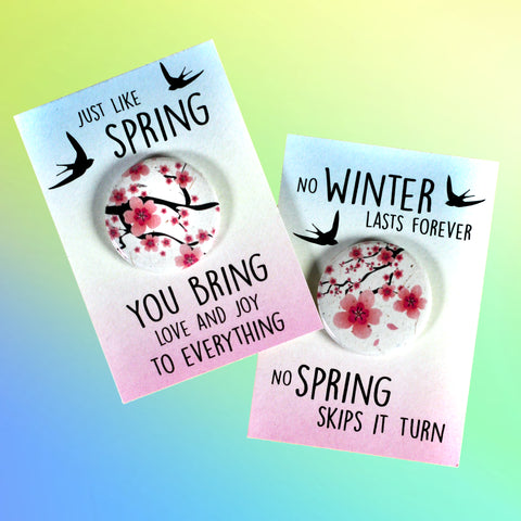 Sakura Flowers Spring Button Cards