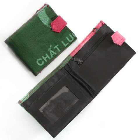 Side-Snap Short Recycled Rice Bag Wallet