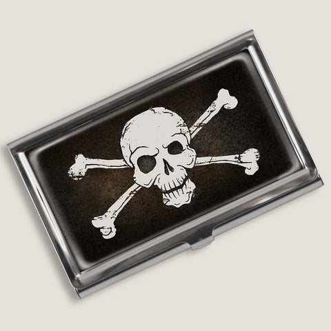 Skull and Bones Design Steel Business Card Holder