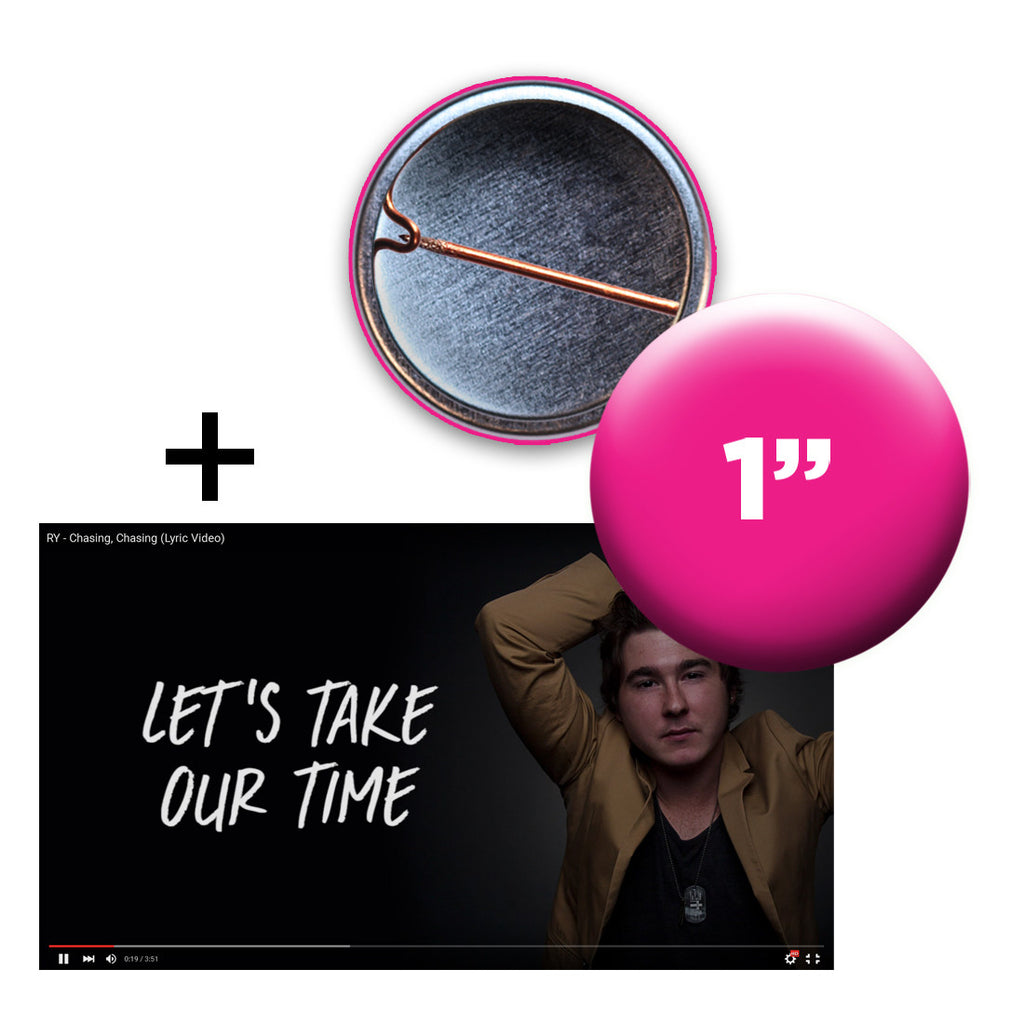 "1"" buttons with lyric video for artists"